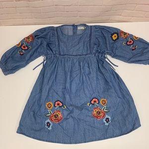 New ZARA KIDS Denim Blue Embroidered Flowers Dress